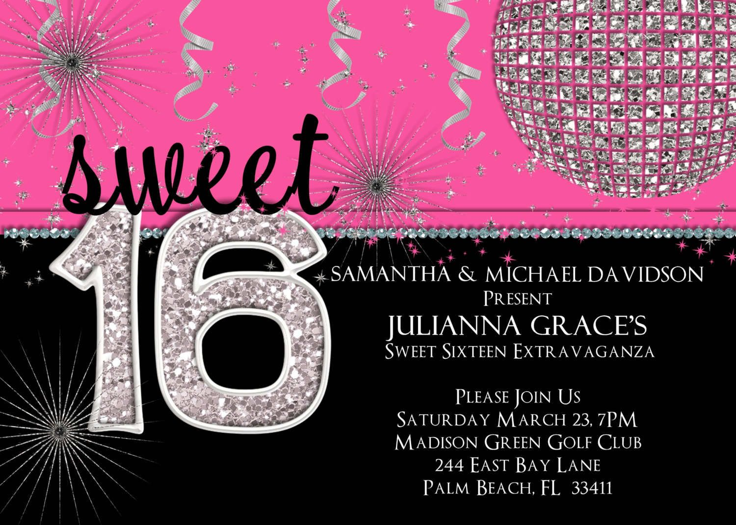 Sweet Sixteen Invitations Sweet Invitation Templates With Black - Sweet 16 party invitation templates