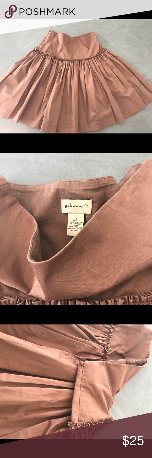 Anthropologie Elevenses Brown Ruffle Skirt 2 Gorgeous, like new brown ruffle twirl skirt, size 2.  Can be worn high or low waisted depending upon preference.  Purchased at Anthropologie many years ago when Elevenses was a coveted sought after brand there.  98% cotton, 2% spandex.  Very high quality skirt.  29 inch waist, 23 inch length, 119 inch hem!  Yes, that is right!  119 inch hem means you can really twirl this skirt! :) zipper at waist. elevenses Skirts A-Line or Full #twirlskirt Anthropol #twirlskirt
