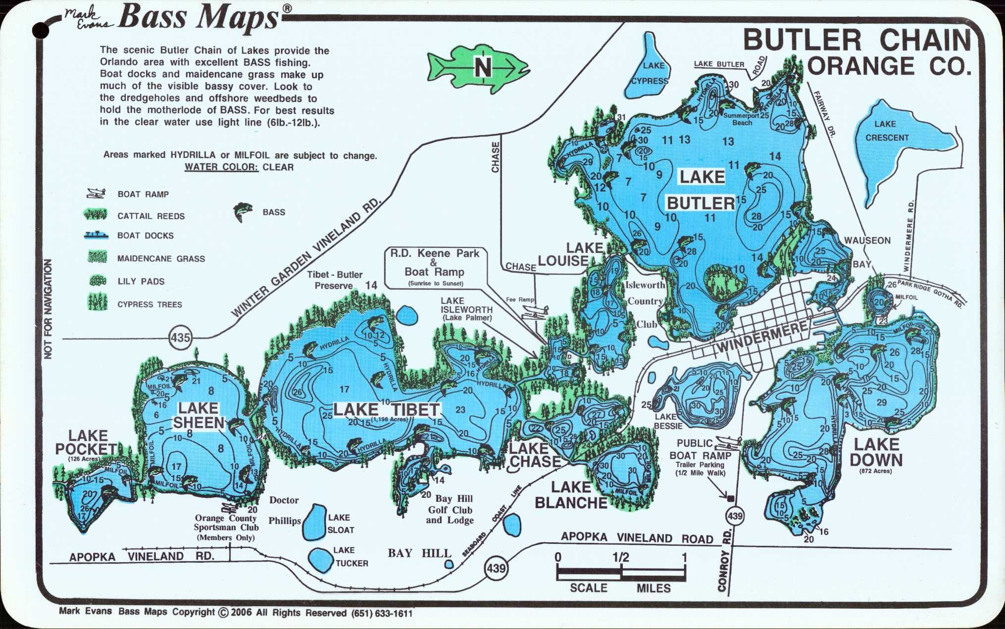 Butler Chain Of Lakes Home  Florida Bass Maps  Orlando Area - Map of florida orlando area