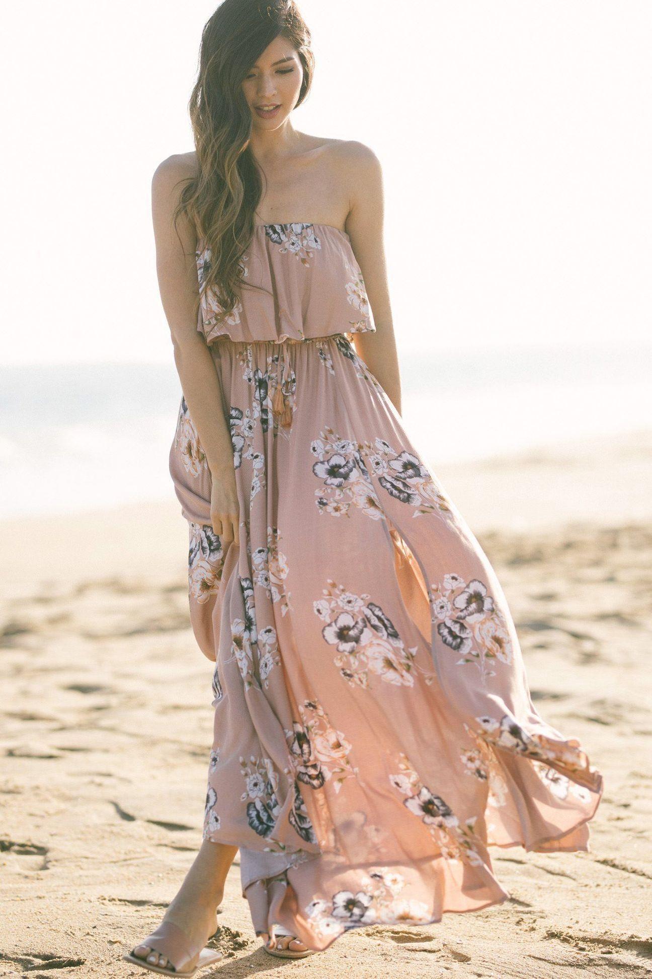 Jennie Blush Strapless Floral Maxi Dress Maxi Dress Dresses Floral Maxi [ 1944 x 1296 Pixel ]