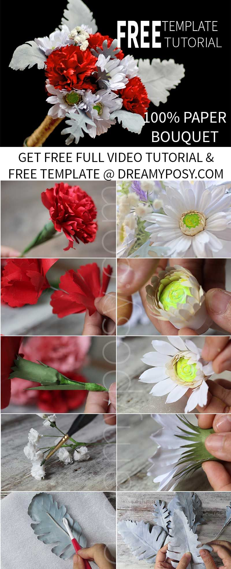 How To Make Paper Dusty Miller Leaves Free Template Paper