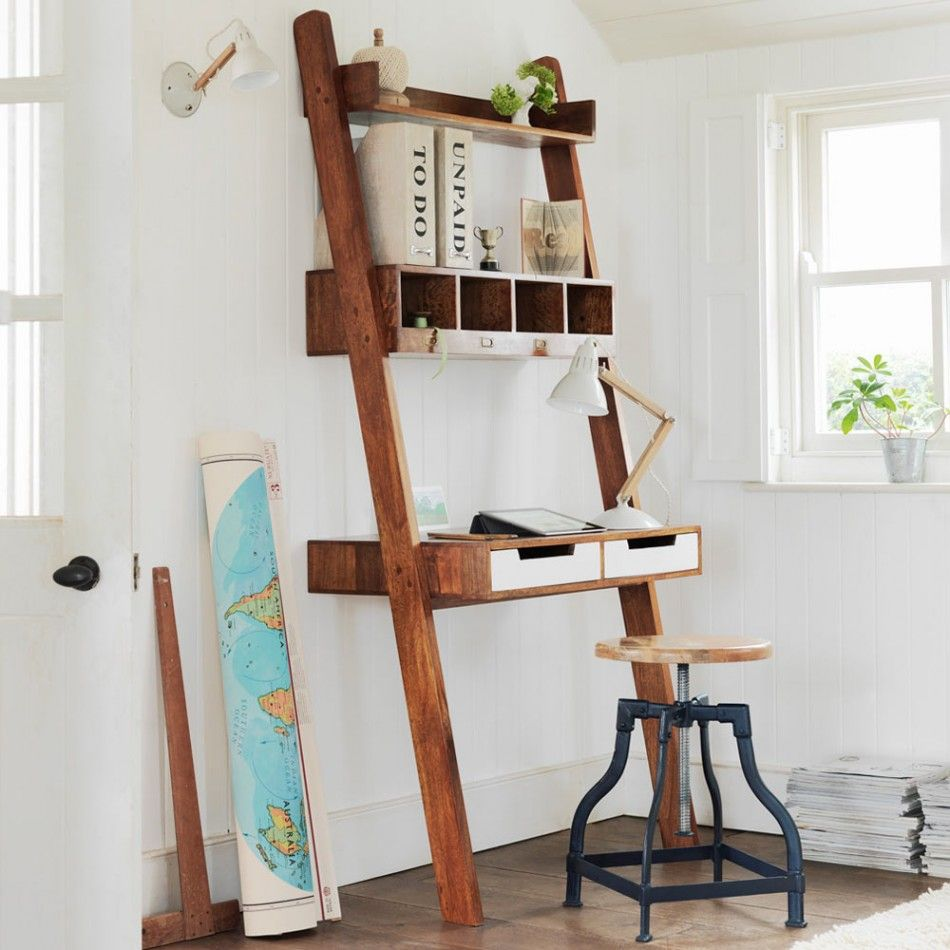 Wood Ladder Desk With Drawers And Shelf In Rustic Style Round Bar Chair With Wood Top A Pile Of Paper A Rolled M Ladder Desk Small Home Office Ladder Desk Ikea