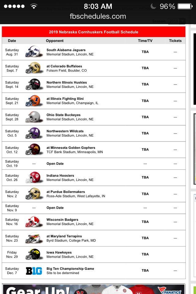 Husker Schedule 2019 2019 Schedule | Husker Football | Nebraska football, Football