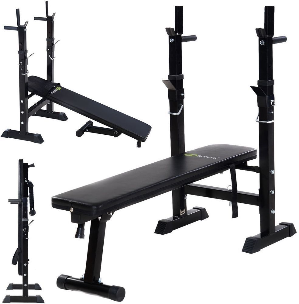 Olympic Adjustable Weight Bench Press Bar Rack Lifting