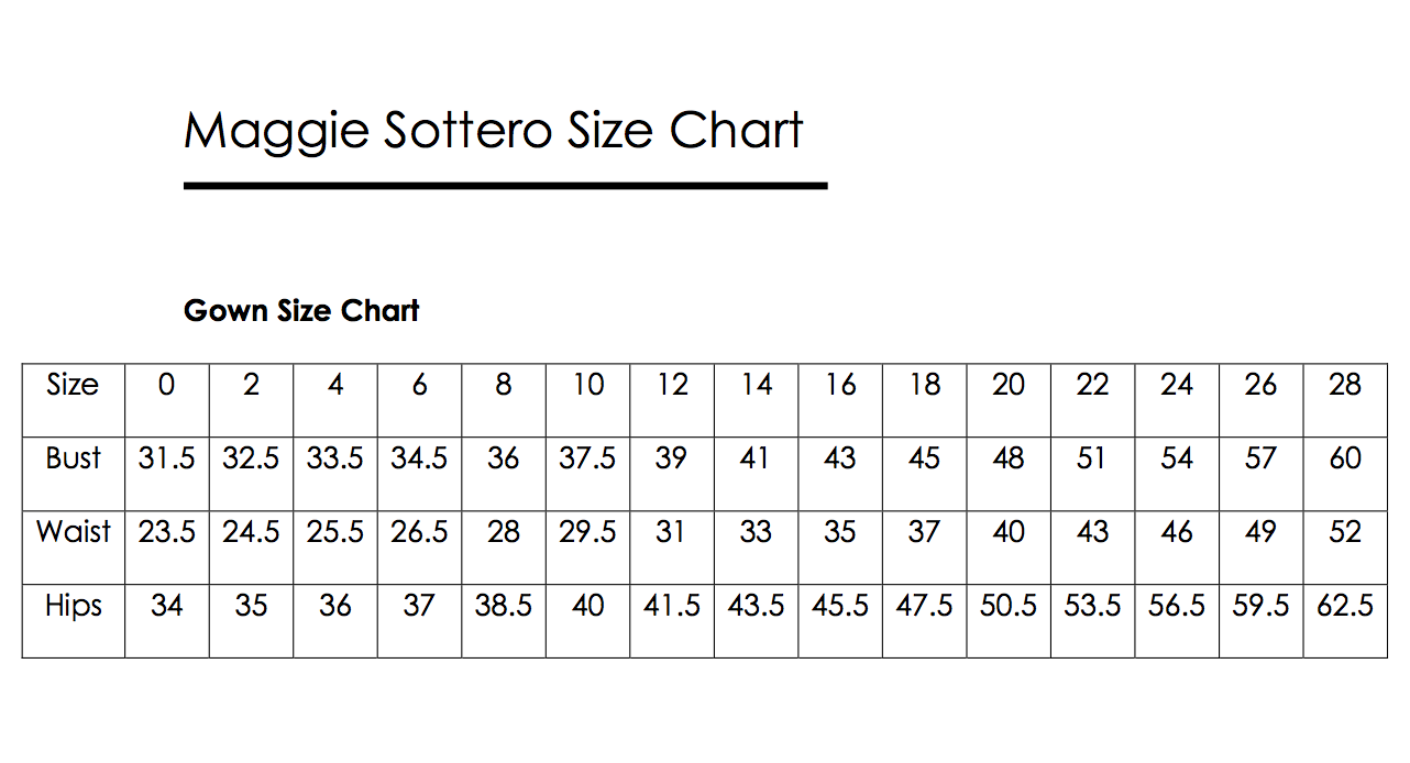 Maggie Sottero Size Chart Wedding Dress