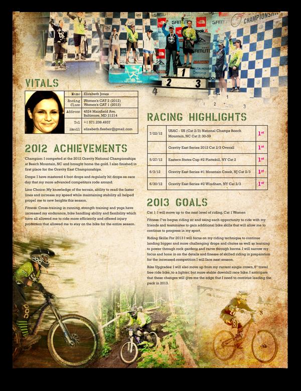downhill mtb race resumes by jamie jones  via behance