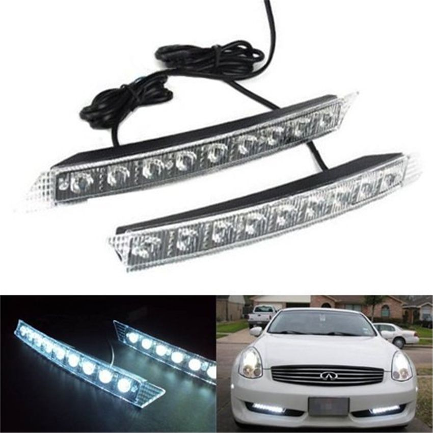 1 Pair 9 LED Car DRL White Light Fog Lamp Daytime and Turn Yellow ...