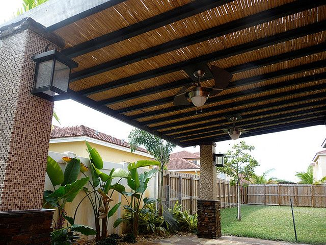 Custom bamboo pergola with built in ceiling fans kitchen living custom bamboo pergola with built in ceiling fans by outdoor kitchens living of florida aloadofball Image collections