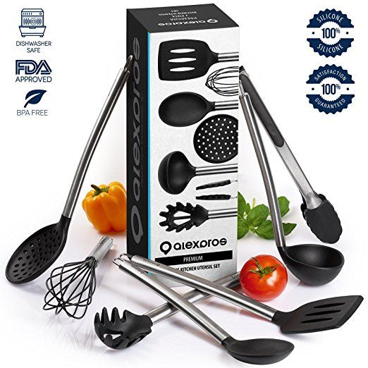 Cooking Utensils   7 Piece Stainless Steel And Silicone Cooking Utensil Set    Nonstick Kitchen Utensils