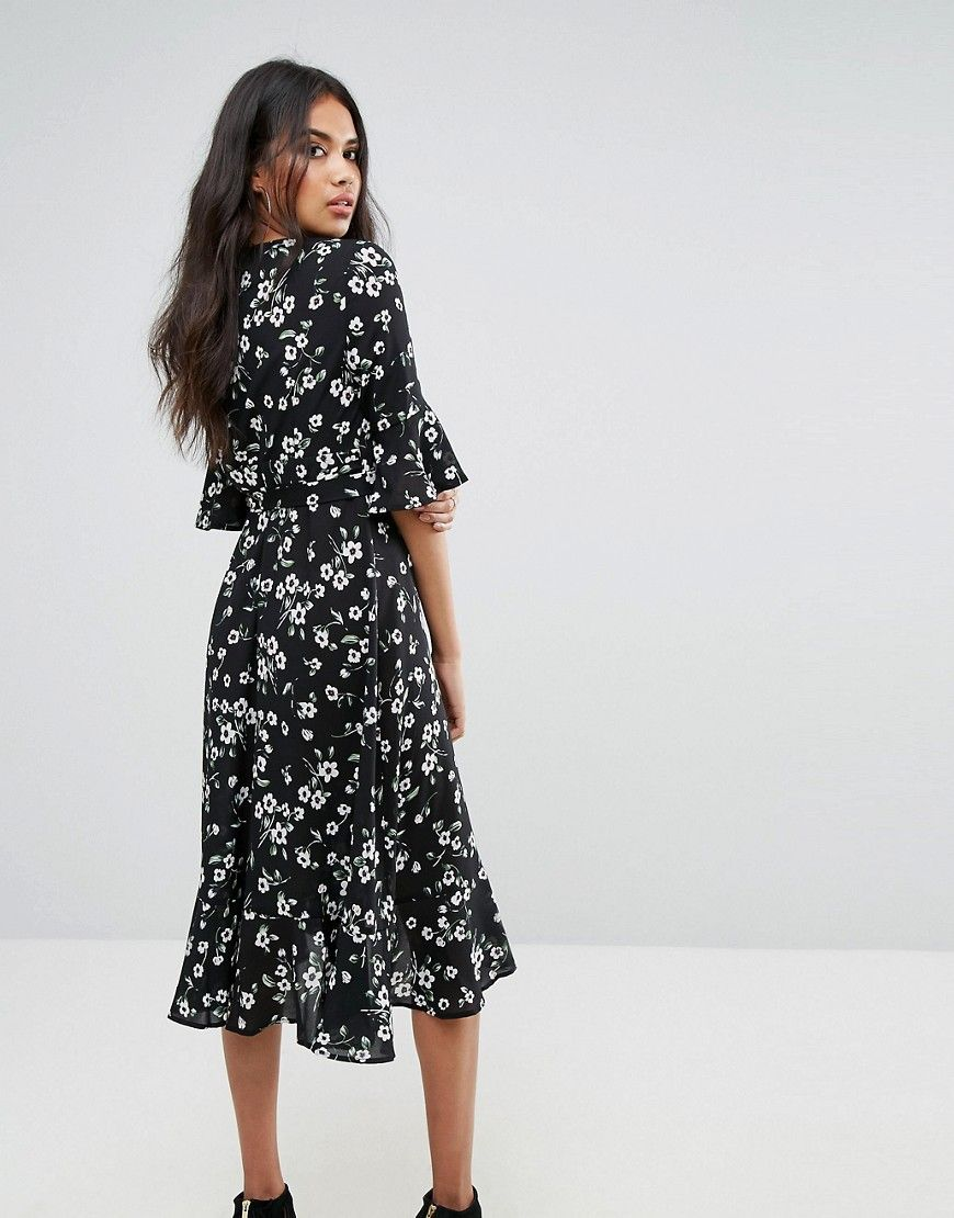 Boohoo floral ruffle trim midi dress black products