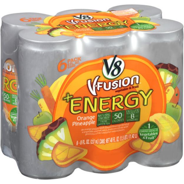 I'm learning all about V8 V-Fusion V-   Energy Orange Pineapple Vegetable