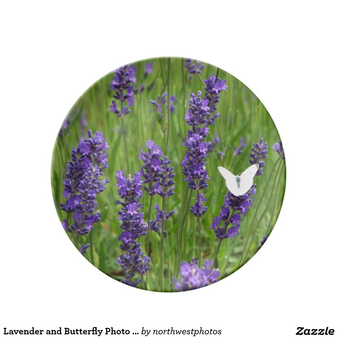 Lavender and Butterfly Photo Porcelain Dinner Plate