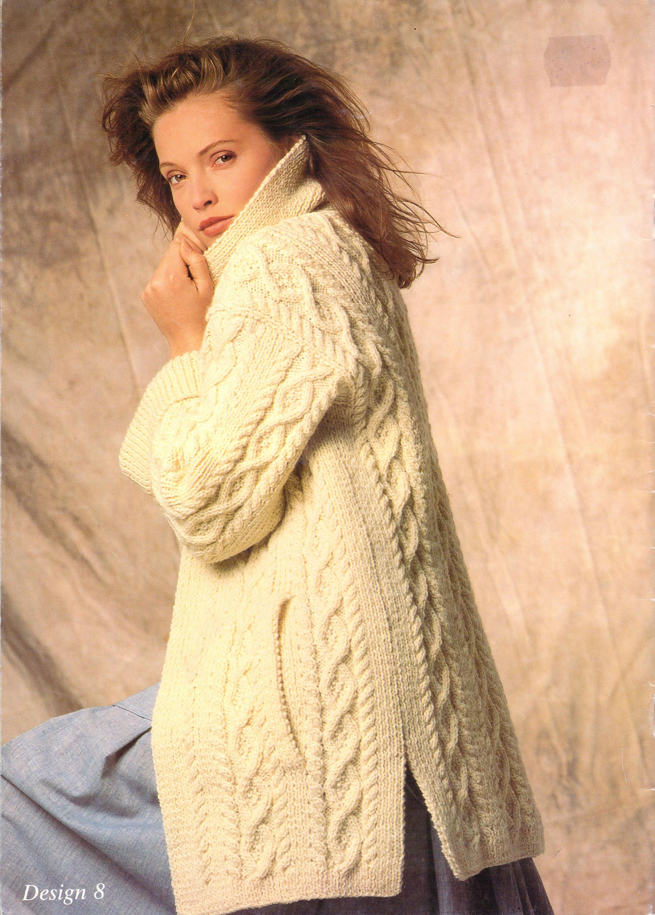 Aran Coat Long Line Jacket Aran Knitting Pattern Cable Sweaters ...