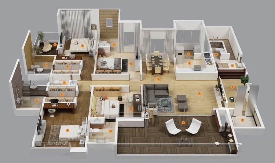 11 Denah Rumah 4 Kamar 3d Untuk Hunian Keluarga Besar Denah Rumah Denah Rumah 4 Kamar Tidur Rumah