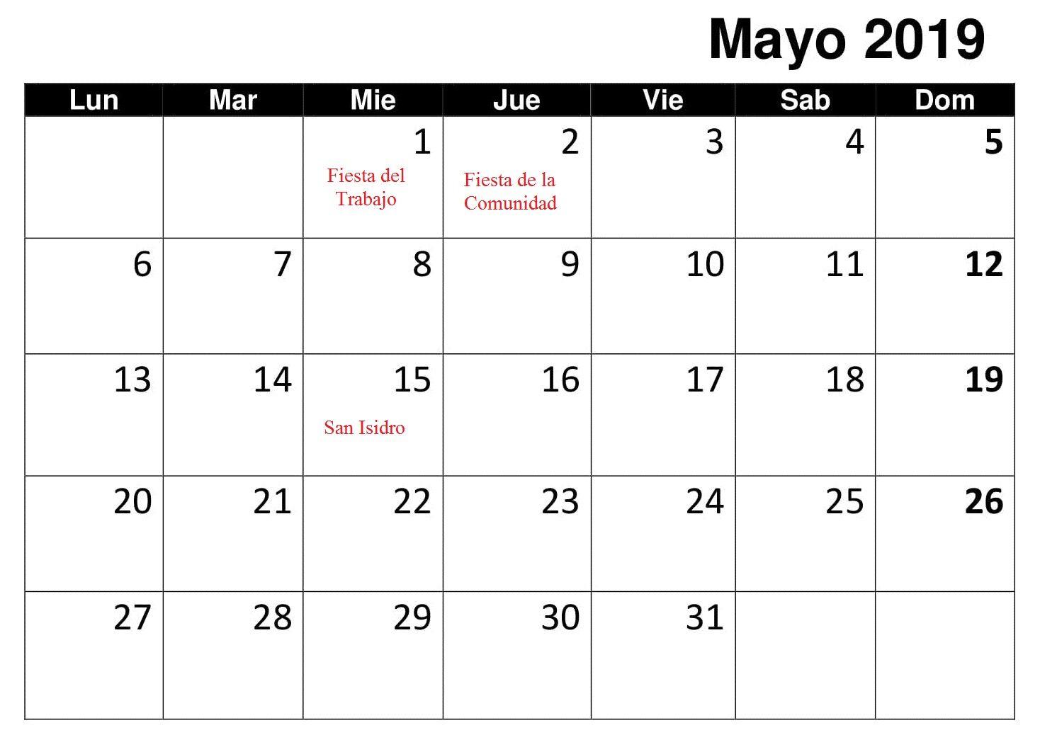 Calendario 2019 Chile Con Feriados Pdf.Gratis Mayo Calendario 2019 Con Festivos Calendario Mayo