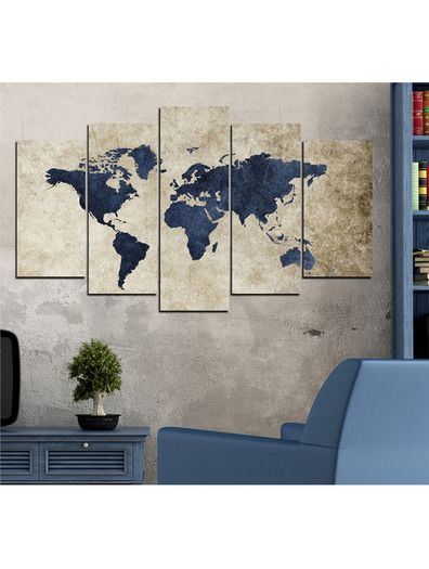 ventes priv es tableau carte du monde 5 pi ces vivente deco r ductions vivente deco tableau. Black Bedroom Furniture Sets. Home Design Ideas