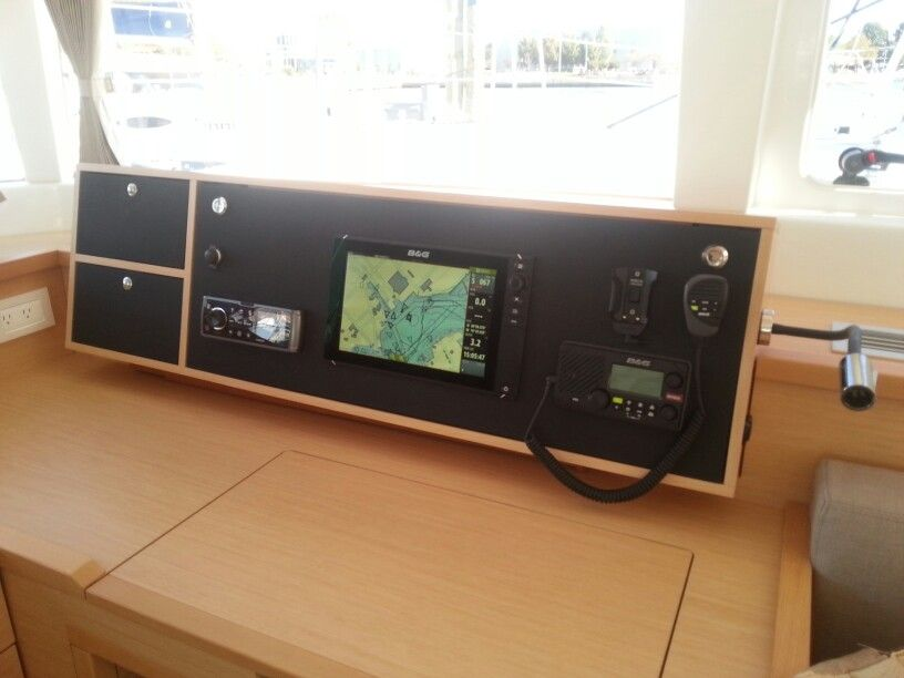 Nav station at chart table with B&G electronics on Lagoon 450 #catamaran