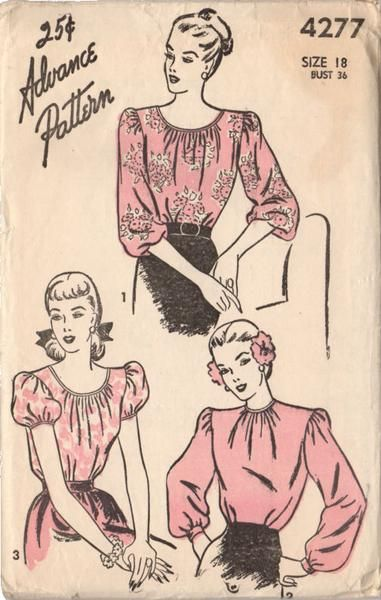 Vintage 1940s Advance Sewing Pattern 4277 Ladies Low Neck Blouse with Puff…