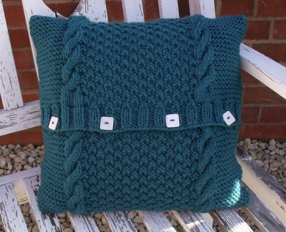 KNITTING PATTERN - EASY KNIT CHUNKY CUSHION COVER - CABLE ...