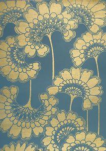 JAPANESE FLORAL STORMY SEAS - FBW/C07 - Florence Broadhurst Wallpapers