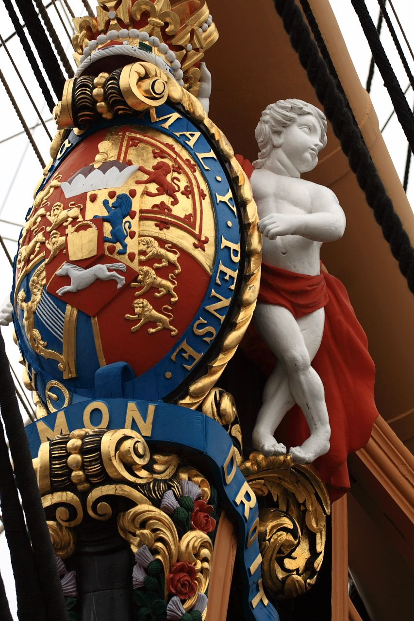 Figurehead of HMS Victory at Portsmouth Harbour.  Famous ship of the line (battleship in its time unsurpassed)