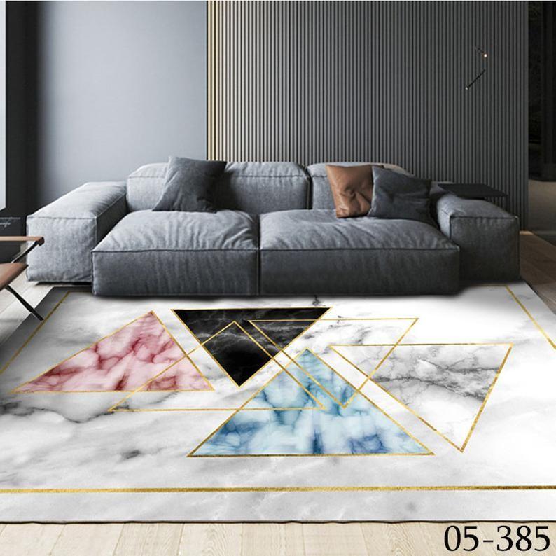 Photo of Golden floor mat living room big carpet customize Bedside rug bathroom door mat Bubble Kiss Ink Art Abstract Pattern Carpet