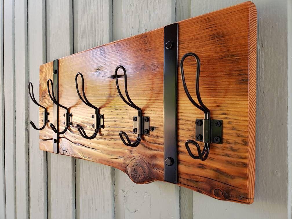Rustic Wood Coat Rack Hat Rack Key Holder Hallway Organizer Reclaimed Wood Farmhouse Wall Farmhouse Wall Decor Rustic Wall Decor Hallway Organization