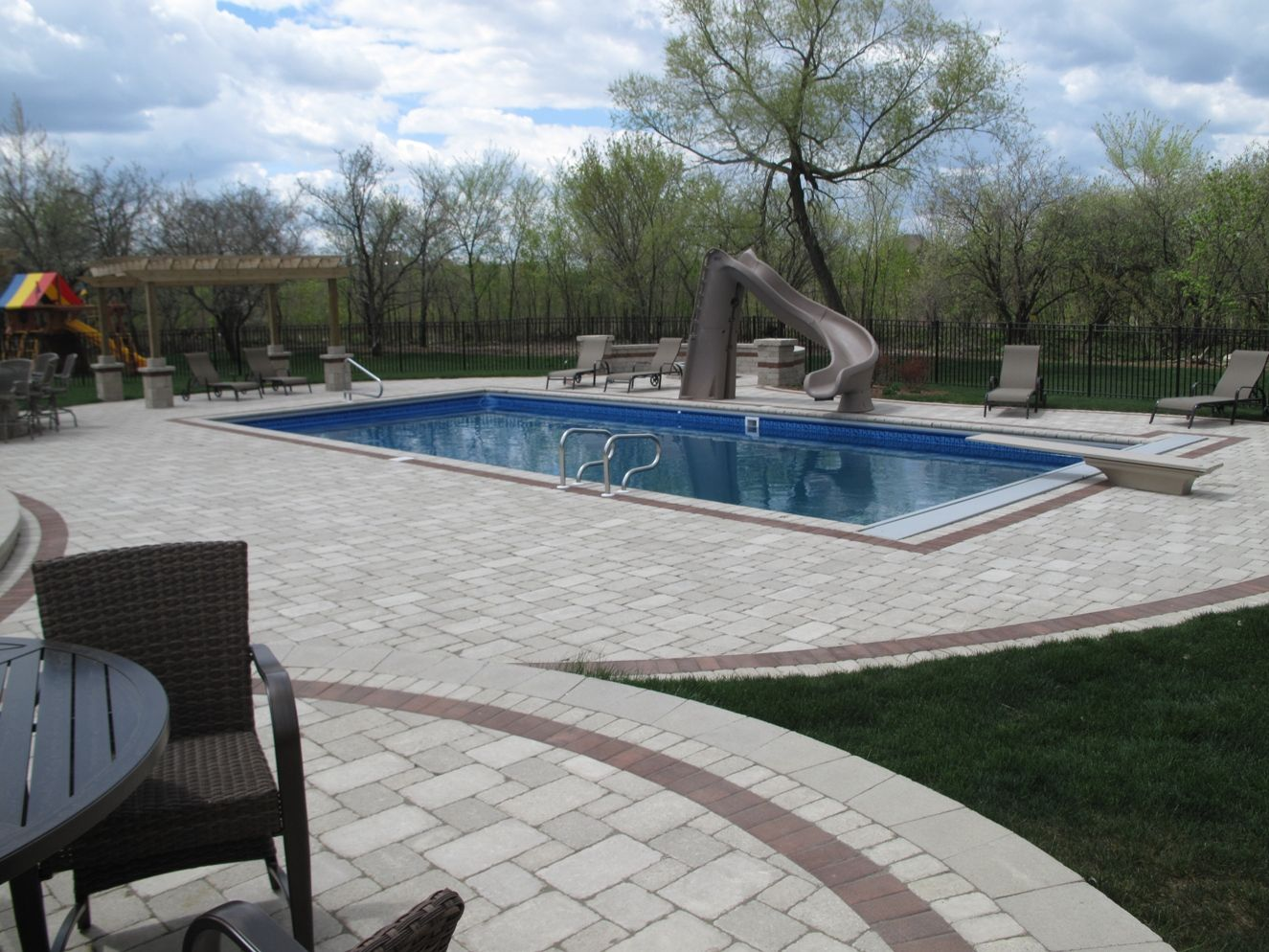 rectangle pool with an auto cover built in mokena il by aqua