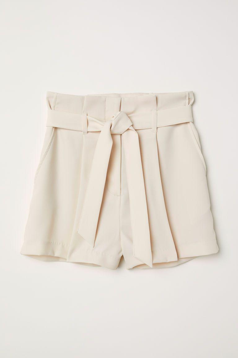 22bb0ff329c Short avec ceinture à nouer - Beige clair - FEMME