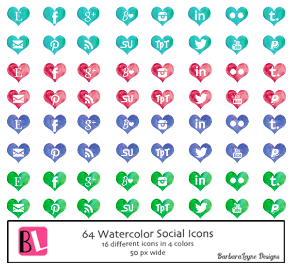 Water Colour Social Icons