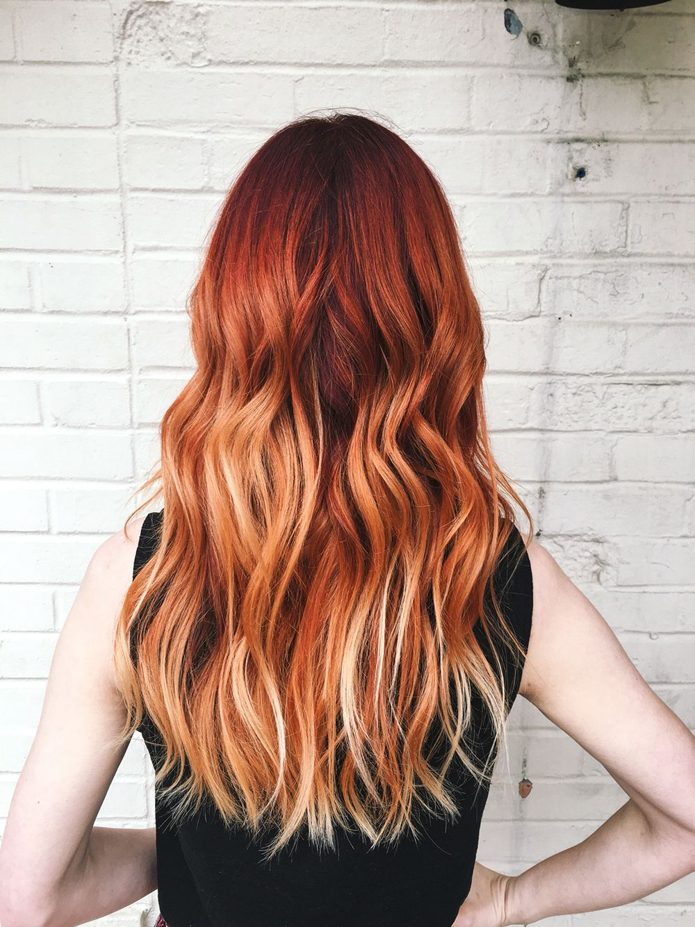 Red To Copper Balayage Blonde Tips Summer Hair Color Red Hair Color