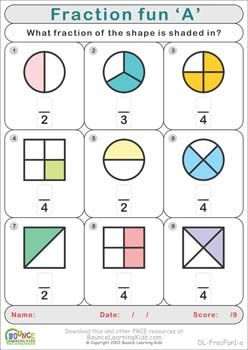 Bounce Learning Kids Bounce Learning Kids Fractions Worksheets 2nd Grade Math Worksheets Fun Fractions