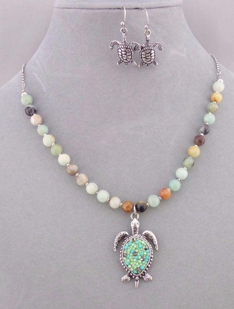 Green Stone Bead Sea Turtle Pendant Necklace Earrings Set Fashion Jewelry NEW #StorybyDavinci