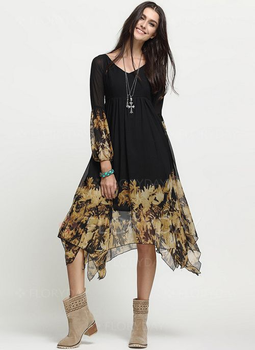807e10a7a3a221 Dresses -  52.50 - Polyester Color Block Long Sleeve Maxi Casual Dresses  (1955112530)