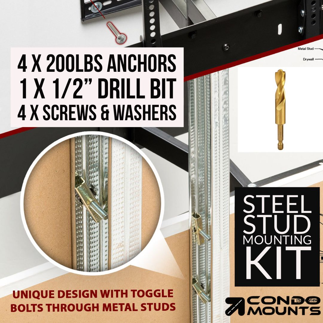 Condomounts Steel Stud Mounting Kit. in 2020 | Wall mounted tv, Tv wall, Mounted tv