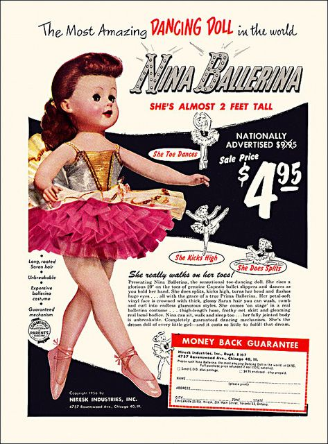 I think I have this doll. She's not 2 feet tall, but she's beautiful. She is jointed and is poseable...........Nina Ballerina Doll Ad, 1956 by alsis35, via Flickr
