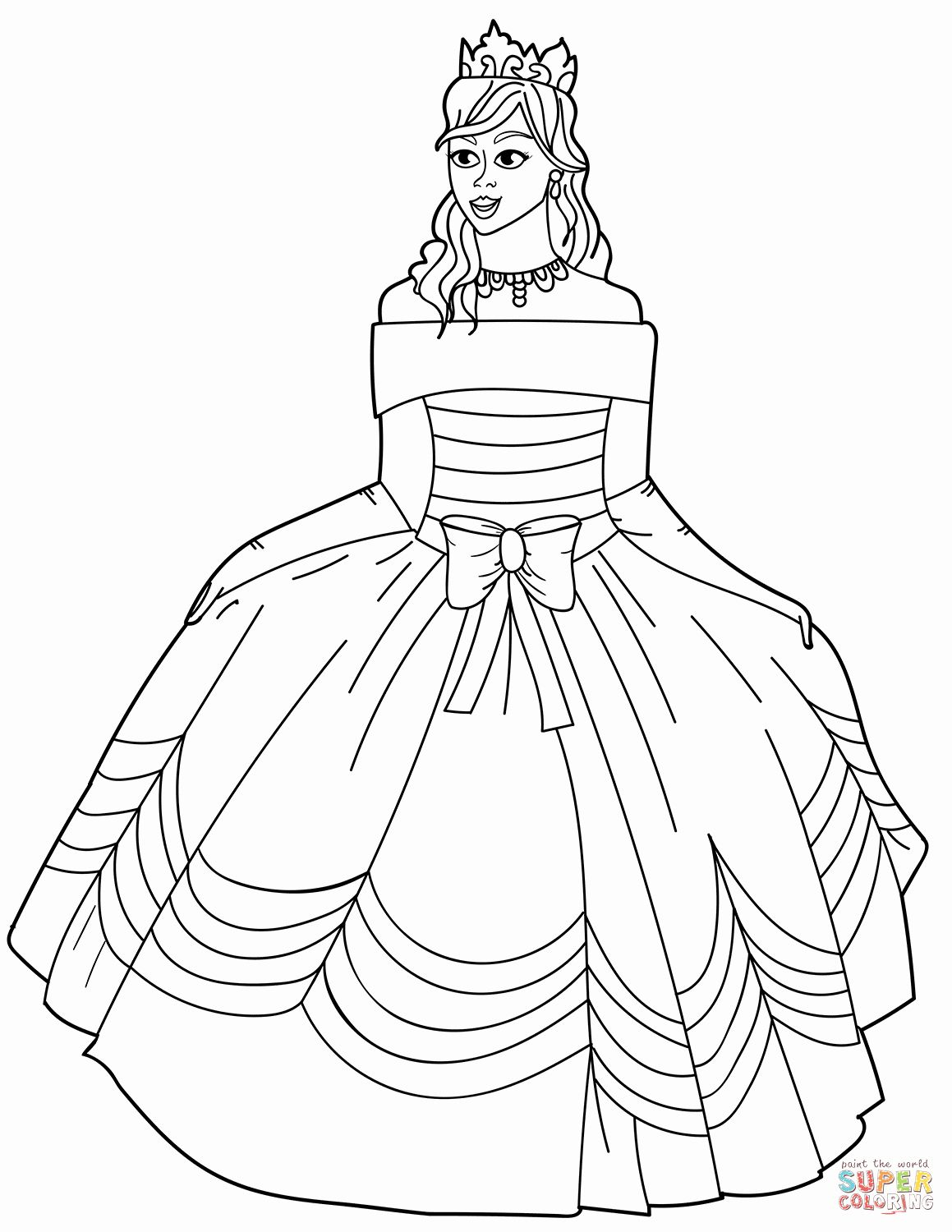 Princess Dress Coloring Pages Best Of Princess In Ball Gown F The Shoulder Dress Coloring Page In 2021