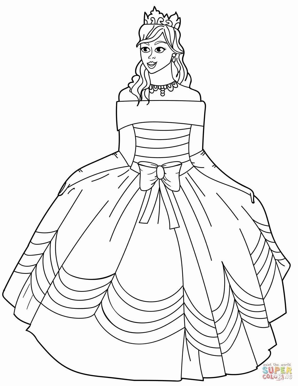 Princess Dress Coloring Page : princess, dress, coloring, Princess, Dress, Coloring, Pages, Shoulder