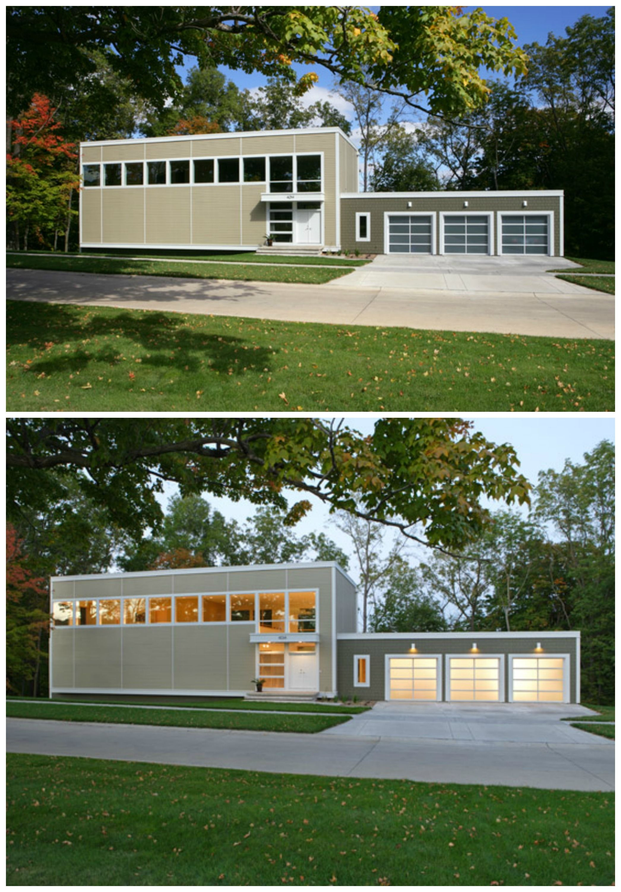 Day and night curb appeal on a modern modular home. Clopay ...