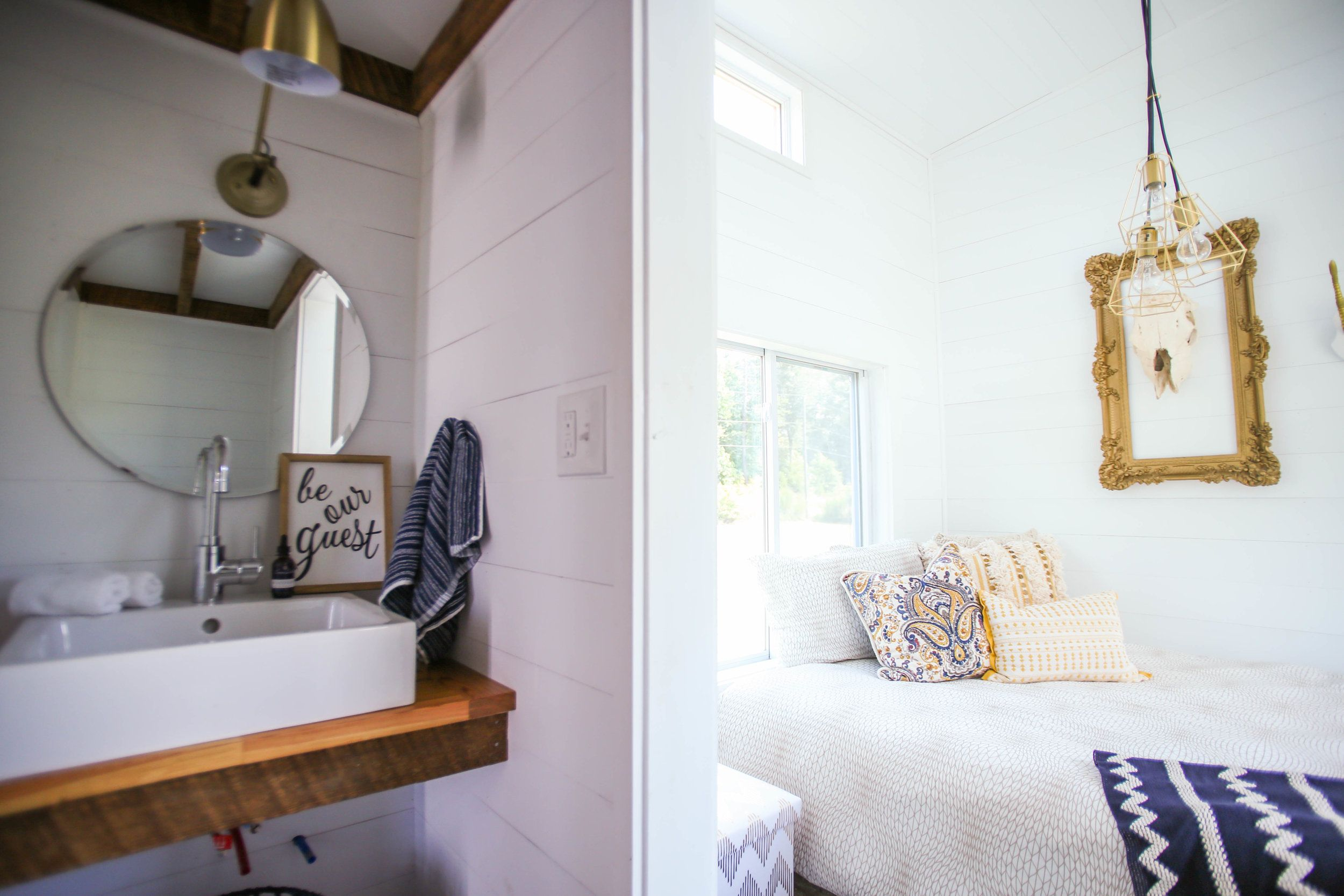 mustard seed the harvest tiny house on wheels downstairs bedroom