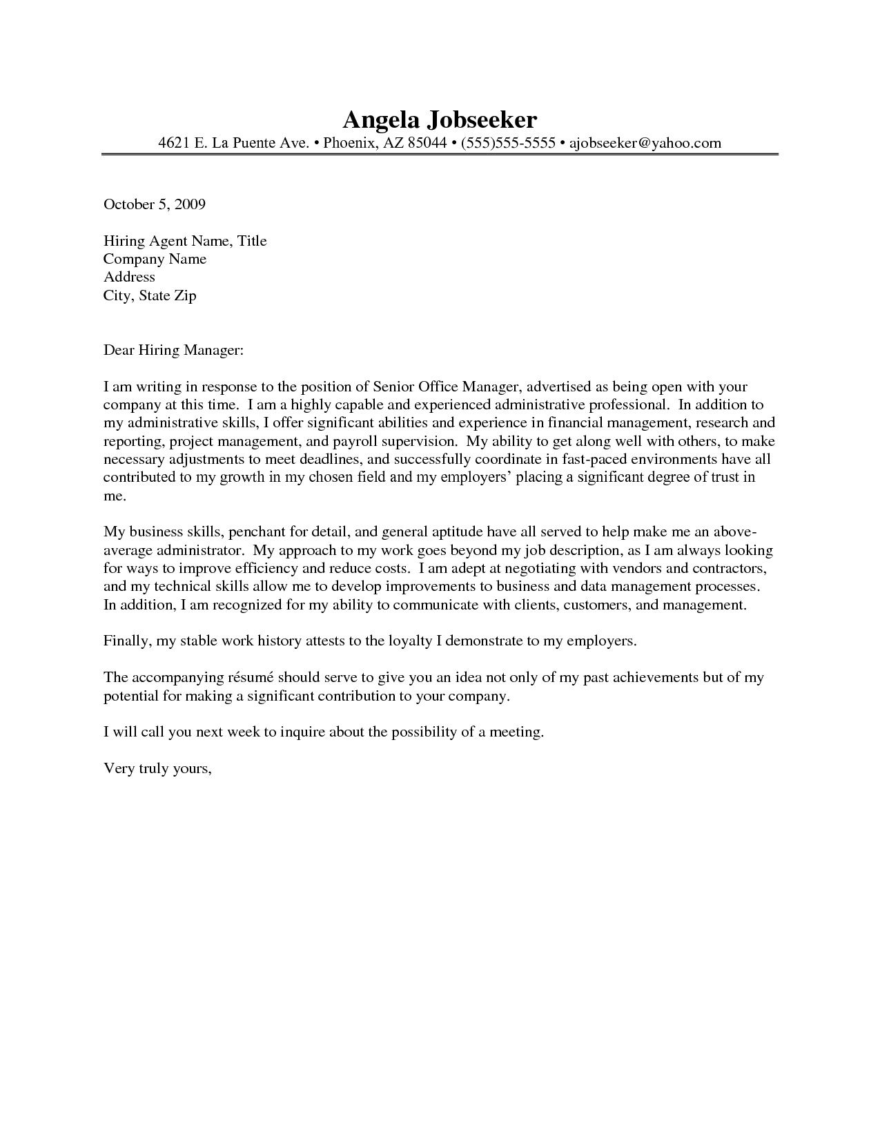 office assistant cover letter example - Administrative Assistant Cover Letter