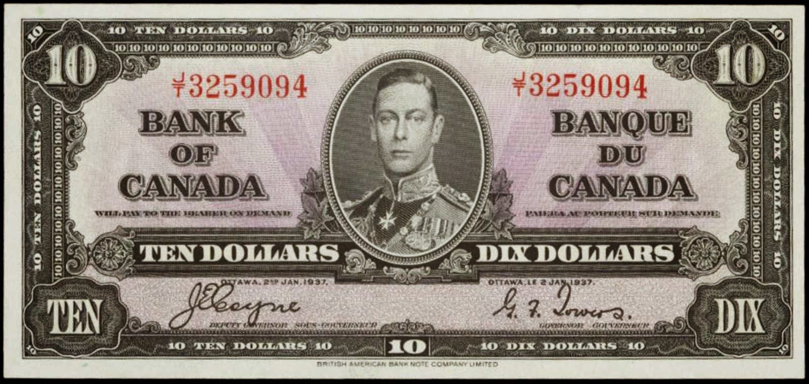 Bank Of Canada 1937 Ten Dollar Bill Canadian Money Bank Notes Canadian Coins