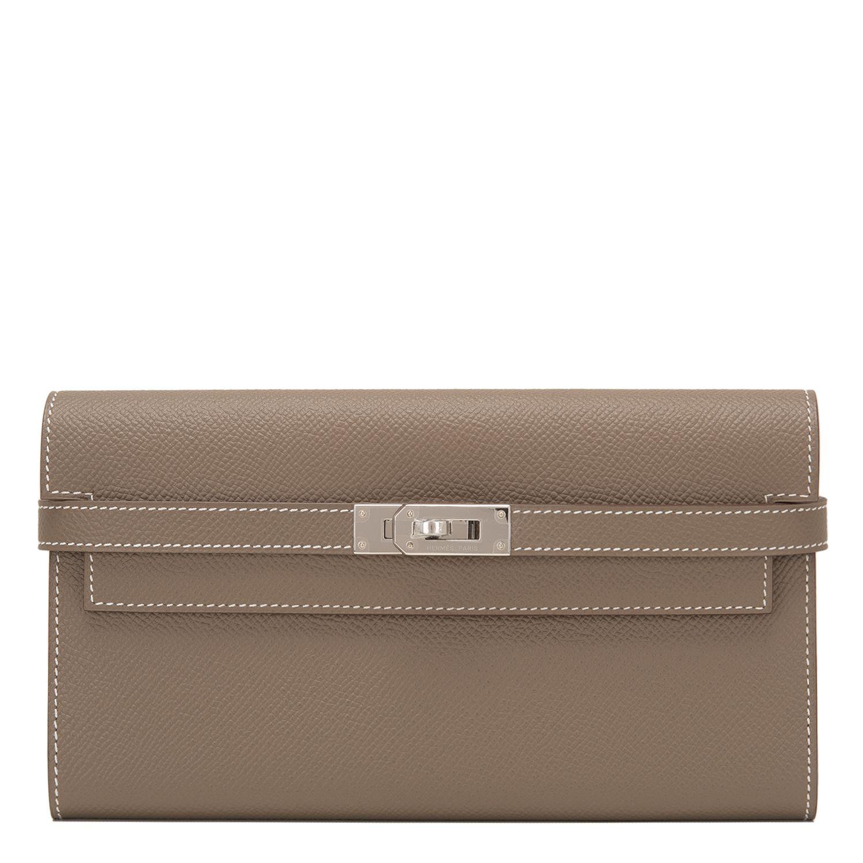 7685f51eca70 Hermes Etoupe Epsom  Kelly Longue  Wallet  Bag