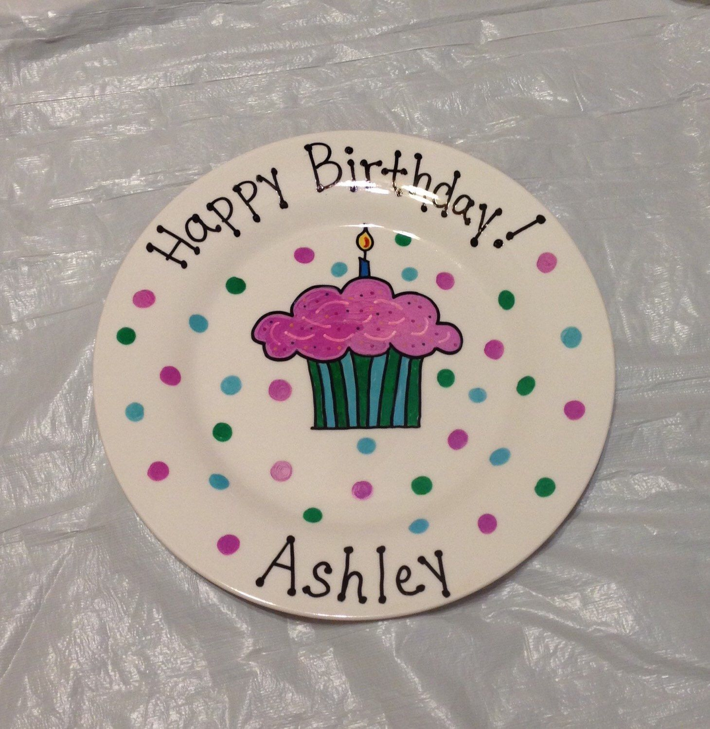Happy Birthday Plate - Personalized Plate for - Kids - Hand Painted Ceramic Plate - Gift Plate Birthday Gift for Girl Birthday Gift & Happy Birthday Plate - Personalized Plate for - Kids - Hand Painted ...