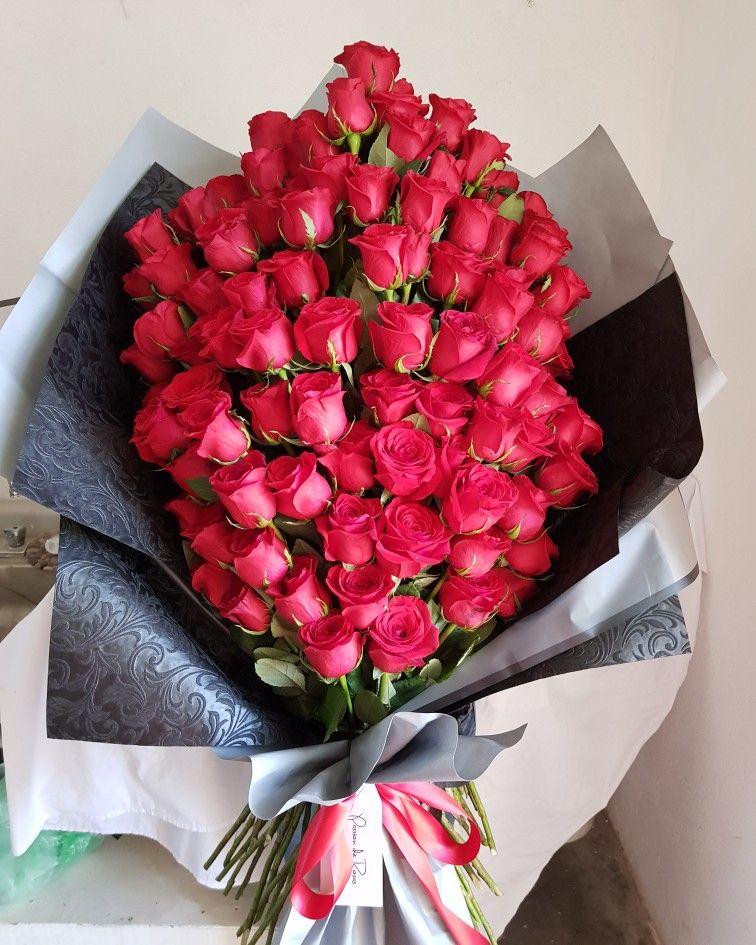 Ramo gigante de 100 rosas rojas ramo de rosas rojas - Ramos de flores grandes ...