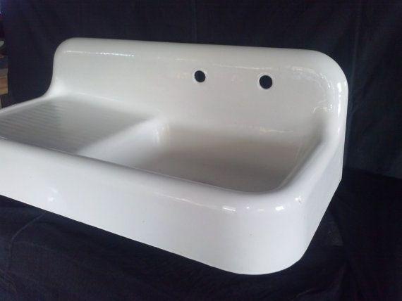 WAREHOUSE SALE / RsRvRd For Brenda / Vintage Cast Iron Sink ...