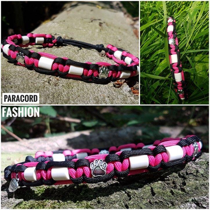 Em Keramik Halsband Zur Zeckenabwehr Mit Pfotchen Beads Keramik Halsband Paracord Pink Schwarz Hunde Em Keramik Halsband Paracord Halsband Paracord