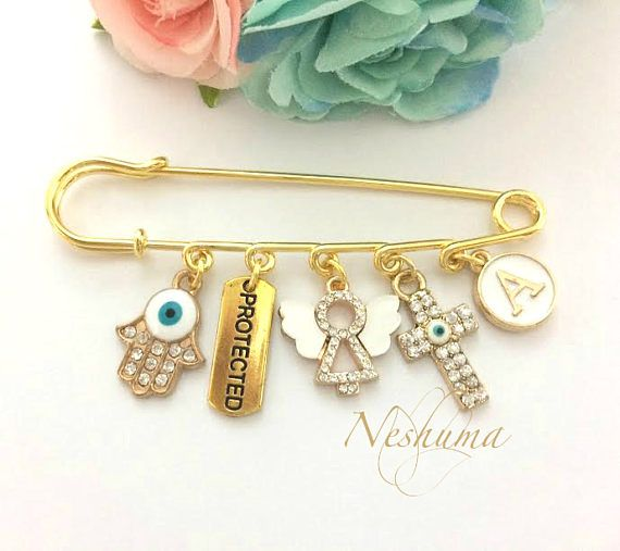 Personalized Baptism evil eye stroller pin for baby
