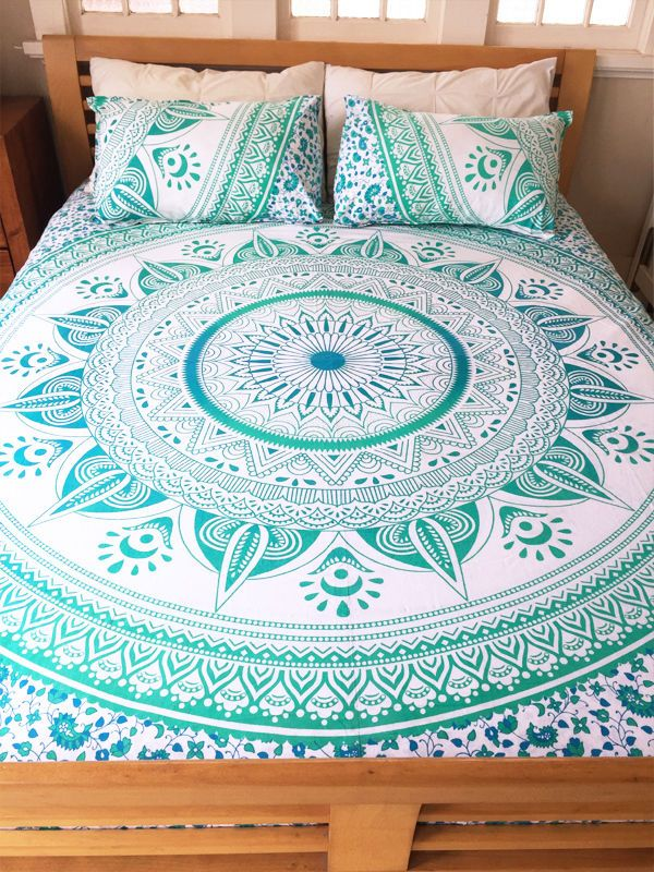 Sea Green White Ombre Medallion Circle Duvet Cover With Set Of 2 Pillow Covers Royalfurnish Com Bed Linens Luxury Bed Linen Design Luxury Bedding