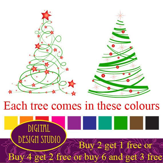 20 Christmas tree clip art designs Bright by DigitalDesignStudio, £2.50 - Modern Christmas Tree Clip Art, 20 Designs. INSTANT DOWNLOAD For